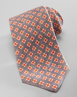 Kiton Small-Square Linen Tie, Gray