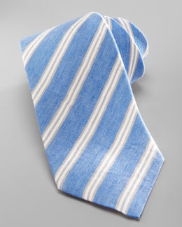 Kiton Washed Striped Silk-Linen Tie, Blue