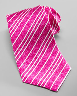 Kiton Textured Striped Silk Tie, Magenta