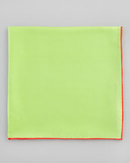 Neiman Marcus Silk Pocket Square, Lime Green/Red