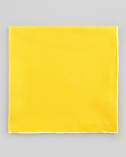 Neiman Marcus Silk Pocket Square, Yellow/White