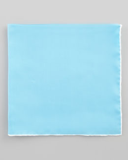 Neiman Marcus Silk Pocket Square, Bright Blue/White