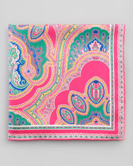 Neiman Marcus Paisley Silk Pocket Square