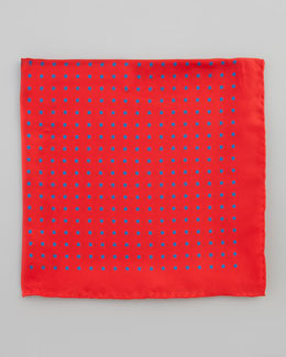Neiman Marcus Polka-Dot Silk Pocket Square, Red/Blue