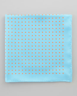 Neiman Marcus Polka-Dot Silk Pocket Square, Blue/Orange