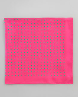 Neiman Marcus Polka-Dot Silk Pocket Square, Pink/Green
