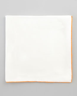 Neiman Marcus Silk Pocket Square, White/Orange