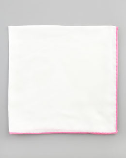 Neiman Marcus Silk Pocket Square, White/Pink