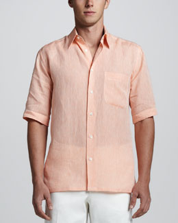 Brioni Short Sleeve Linen Shirt with Paisley Contrast, Orange