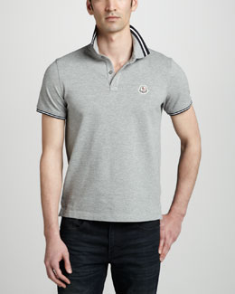 Moncler Tipped Logo Polo, Gray