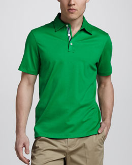 Michael Kors Ribbon-Trim Liquid Jersey Polo, Green