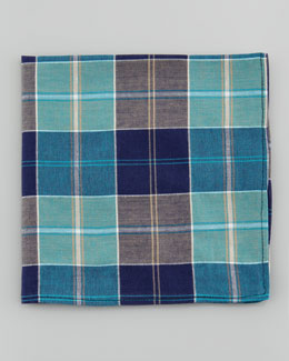 Neiman Marcus Madras Poplin Pocket Square, Blue Multi