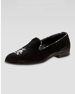 Barker Black Velvet Loafer