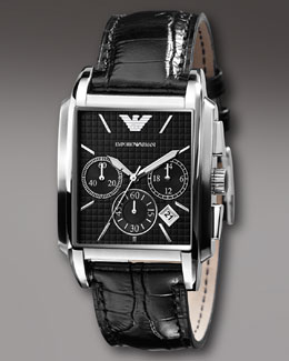 Emporio Armani Square Chronograph Watch, Black