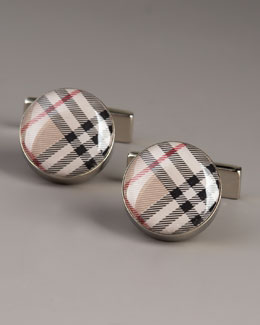 Burberry Round Check Cuff Links, Tan