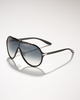 Tom Ford Ace Plastic Shield Aviators, Black