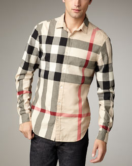 Burberry Brit Quad-Check Woven Shirt, New Classic