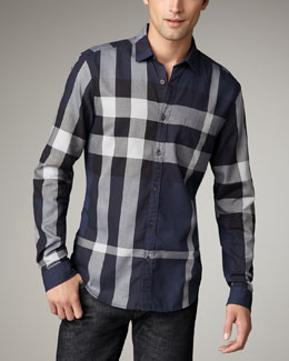 Burberry Brit Quad-Check Woven Shirt, Navy