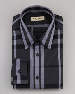 Burberry Check Dress Shirt, Gray