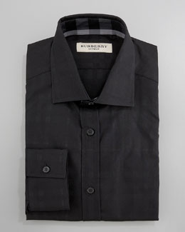 Burberry Check Dress Shirt, Black