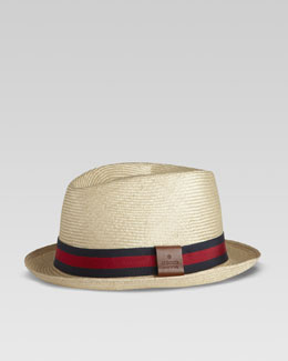 Gucci Straw Web Fedora, Blue/Red