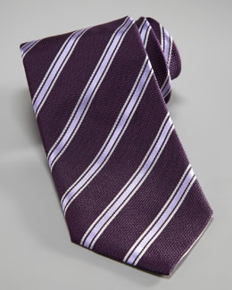 Armani Collezioni Striped Silk Tie, Purple