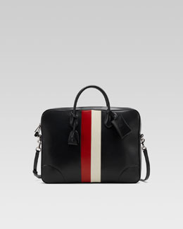 Gucci Briefcase with Web Accent, Black