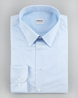 Armani Collezioni Check Cotton-Flax Dress Shirt, Light Blue, Modern Fit