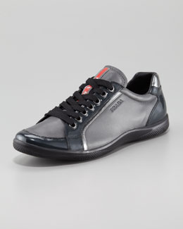 Prada Patent & Leather Lace-Up Sneaker
