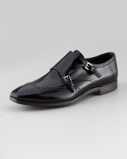 Prada Spazzolato Double-Monk Wing-Tip Shoe