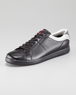 Prada Contrast-Counter Leather Sneaker, Black
