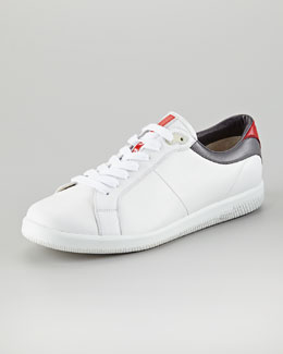Prada Contrast-Counter Leather Sneaker, White