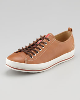 Prada Cap-Toe Leather Sneaker, Brown
