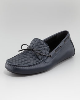 Bottega Veneta Woven Leather Driver, Navy