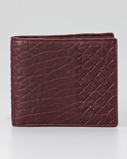 Bottega Veneta Leather Woven Edge Bi-Fold Wallet, Maroon