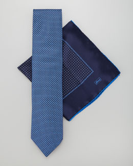 Brioni Mini-Dot Tie & Pocket Square Set, Navy