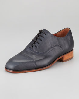 Florsheim by Duckie Brown Washed Leather Cap-Toe Oxford, Indigo