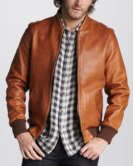 7 For All Mankind Leather Bomber Jacket
