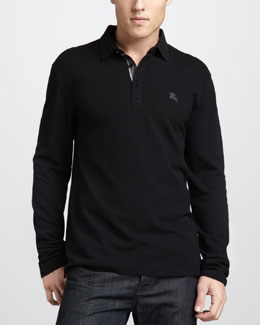 Burberry Brit Check-Placket Jersey Polo, Black