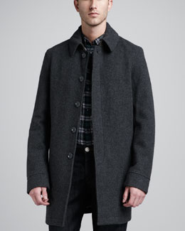 Burberry Brit Wool-Blend Coat, Dark Gray Melange
