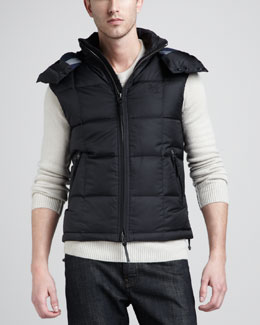 Burberry Brit Hooded Puffer Vest, Black