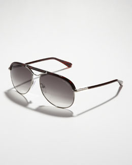Tom Ford Marco Aviator Sunglasses, Ruthenium/Havana