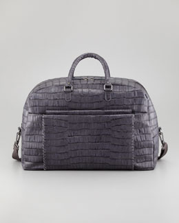 Giorgio Armani Crocodile-Embossed Weekender Bag