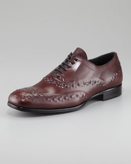 Alexander McQueen Reverse-Embossed Lace-Up, Oxblood