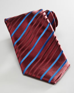 Charvet Striped Silk Tie, Red/Blue