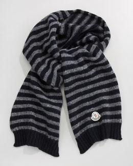 Moncler Striped Scarf, Gray/Navy