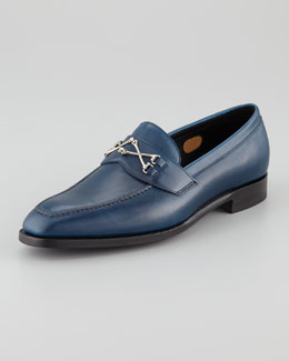Barker Black Wolfe Crossbones Loafer, Navy