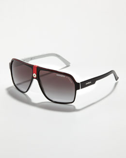 Carrera Plastic Sport Aviator Sunglasses, Red/Black