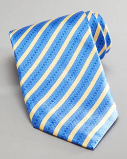 Stefano Ricci Mixed Stripe Silk Tie, Blue/Yellow