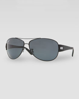Ray-Ban Polarized Aviator Sunglasses, Matte Black